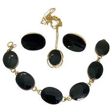 Vintage 12k Gold Filled Onyx Jewelry Suite Earrings Bracelet Necklace