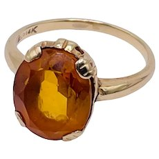 Vintage 14k Yellow Gold 4ct Citrine Ring Size 6.5 3g