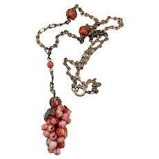 Vintage Czech Pink Coral Art Glass Grapes Pendant Necklace