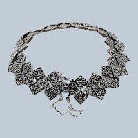 Vintage Sterling Silver Marcasite Diamond Shape Link Bracelet