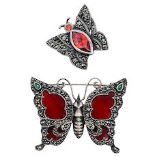 Vintage Sterling Silver Marcasite Butterfly Brooch Pair