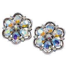 Trifari AB Rhinestone Vintage Flower Earrings Beautiful