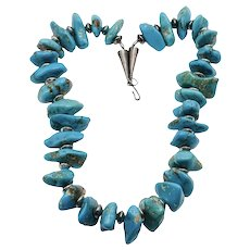 """Navajo Turquoise Sterling Silver Massive Nugget Necklace 22"""""""