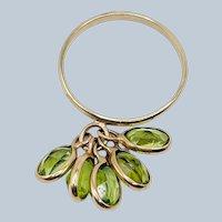 Estate 10k Yellow Gold Dangle Peridot Gemstone Ring
