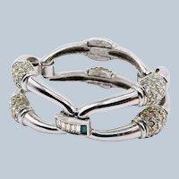 Vintage Givenchy Pave Rhinestone Large Link Bracelet Beautiful
