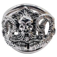 Vintage Whiting & Davis Rare Face King Neptune Hinged Bracelet