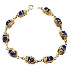 18k Yellow Gold Egyptian Scarab Beetle Bracelet Blue Lapis Gemstones