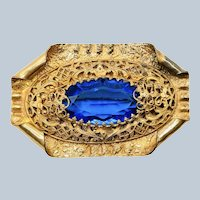 Antique Victorian Revival Blue Paste Filigree Brooch C clasp