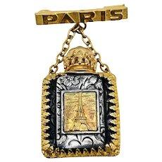 Antique PARIS Souvenir Art Deco Miniature Perfume Bottle & Dauber Brooch