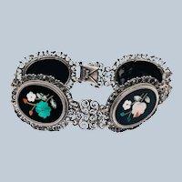Vintage Sterling Silver Pietra Dura Inlay Filigree Fancy Bracelet