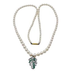 Antique Edwardian 9ct Gold Diamond & Natural Emerald Pearl Necklace