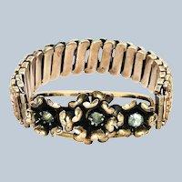 1920's Lustern Rose Gold Fill over Sterling Floral Expansion Bracelet