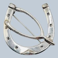 Vintage Sterling Silver Horseshoe Wishbone Brooch 5.3g