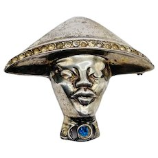 Vintage c1940's Sterling Silver Figural Oriental Asian Man Head Brooch w/ Hat