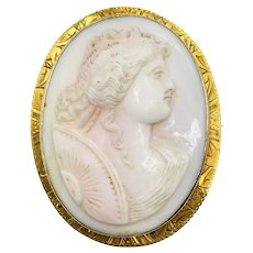 Antique Edwardian 10k Gold Carved Pink Shell Cameo Lady Brooch