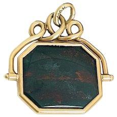 Antique 14k Gold Bloodstone Swivel Watch Fob Pendant Charm