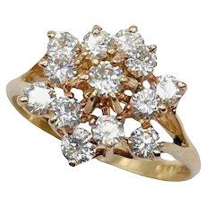 14k Gold Diamond 0.82ctw Cluster Ring Size 7.75 3.6g