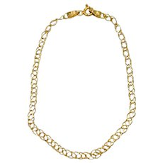 "14k Yellow Gold Double Link Chain Bracelet 7"""
