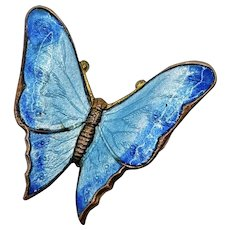 Antique Blue Guilloche Enameled Butterfly Pin Brooch C Clasp