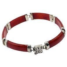 Sterling Silver Chinese Symbol Red Jade Bar Link Bracelet