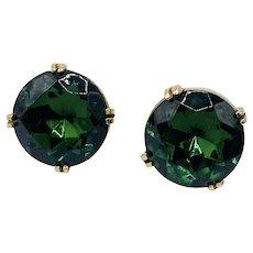 Vintage Hattie Carnegie Green Glass Large Rhinestone Earrings