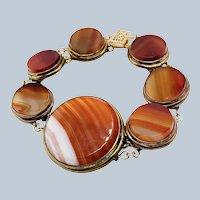 Antique Victorian Carnelian Banded Agate Bracelet