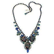 Vintage Juliana D&E Flower Fantasy Art Glass Rhinestone Necklace Book Piece