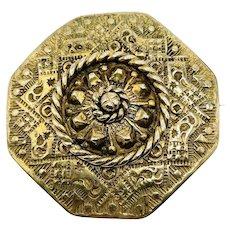 Antique Victorian Estruscan Brass Octagon Brooch