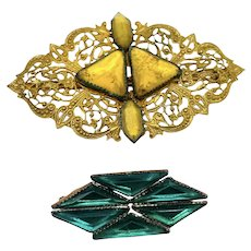 Antique Vaux Hall Glass Brooch Set Yellow & Green with Gold Filigree