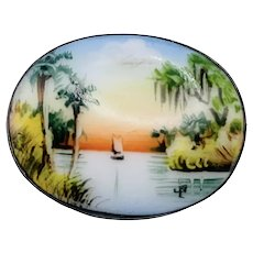 Vintage Sterling Silver Olive Commons Hand Painted Porcelain Brooch Scenic Florida Palm Trees Boat Sunset