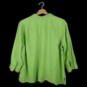1X Lime Green Ralph Lauren 100% Linen Dress Shirt Blouse