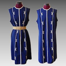 1960s Navy Blue Shift Power Dress with White Cord Detailing