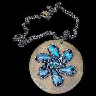 Vintage Wooden Necklace with Aqua Design