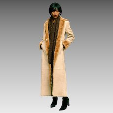 Vintage Russian Inspired Full Length Leather Coat With Faux Fur Lining