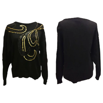 Gold Sequined Black Sweater