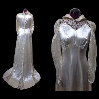 1930s Wedding Dress, Satin & Lace Wedding Dress