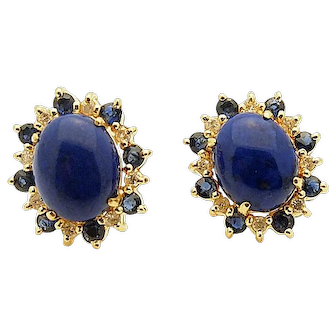 14k Yellow Gold Vintage Lapis Sapphire and Diamond Earrings