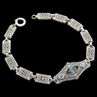 14k White Gold Vintage Filigree Blue Topaz and Diamond Bracelet