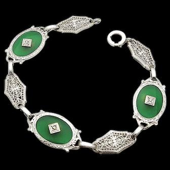 14k White Gold Vintage Filigree Green Onyx and Diamond Bracelet