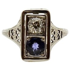 18k White Gold Vintage Filigree Diamond and Sapphire Ring