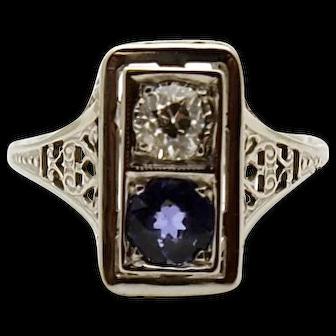 18k White Gold Vintage Filigree Diamond and Sapphire Ring