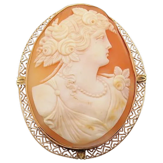 Vintage Large 14k Cameo Pin Pendant Combination