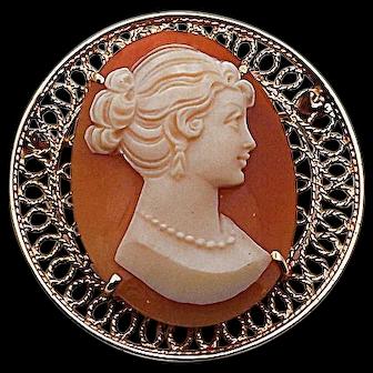 Vintage 14k Round Filigree Cameo Combination Pin Pendant