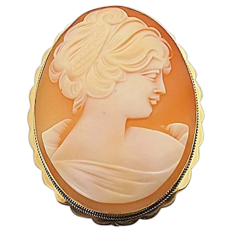 18k Vintage Gold Cameo Combination Pin/Pendant