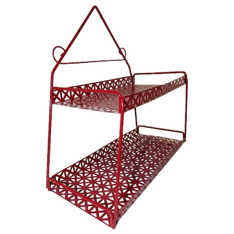 Mid Century Modern Red Metal Wall Art Shelf Mategot Weinberg Style