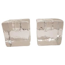 Vintage Crystal Ice Cube Glass Taper Candle Holders