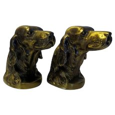 Vintage Retriever Setter Brass Bust Hunting Dog Bookends