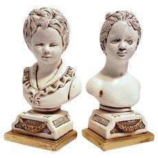 Vintage Jaur Boy Girl Pottery Plaster Chalk Bookends Mid Century Bust Sculptures