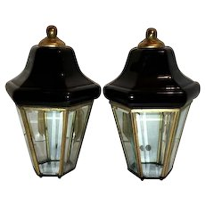 Vintage Pair Black Enamel & Brass Beveled Panel Glass Wall Sconce Outdoor Porch Lights