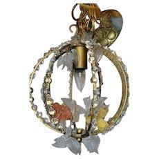 Vintage Brass Art Glass Flowers Crystal Prism Leaves Bird Cage Petite Chandelier